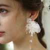 Romantic White Lace Flower Earrings Long White Flower Decorated Wedding Veils