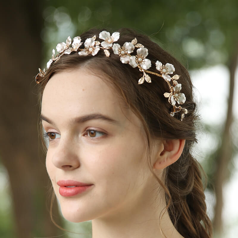 Customize Luxury Crystal Copper Flower Pearl Bride Hair Bands