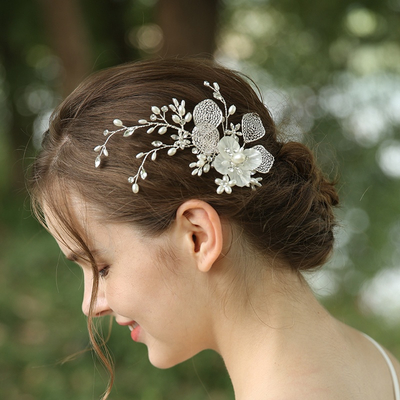 2020 Acrylic Leaves Pearl White Flower Bridal Hair Jewelry For Wedding Rhinestone Crown Tiara Comb