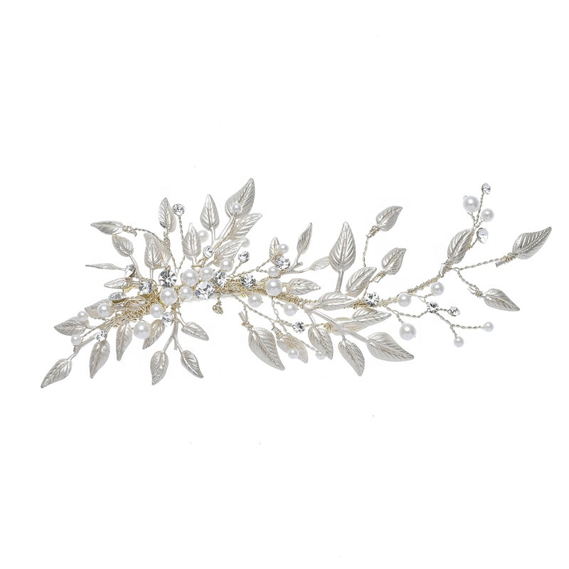 Decorative Light gold Leaves Rhinestone Pearl Hair Bobby Pins